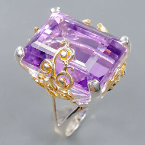 30 ct IF gemstone Amethyst Ring Silver 925 Sterling  Size 7.5 /R172293