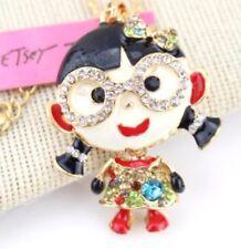 Rhinestone glasses girl Enamel Necklace Pendant Betsey Johnson Fashion Jewelry