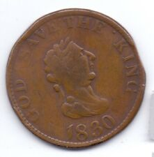 ISLE OF MAN COPPER PENNY TOKEN 1830 GOD SAVE THE KING, JOHN McTURK, VF