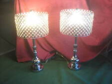"""Set of 2 HAITRAL End Table Lamps w/Beaded Clear Crystal Lamp Shades 28"""" Tall EUC"""