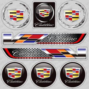 Cadillac V-Series Performance Sport Car Sticker 3D Decal Logo Stripe Decoration