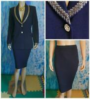 St John Evening Navy Blue Jacket New Skirt L 12 10 2pc Suit Metallic Gold Sequin