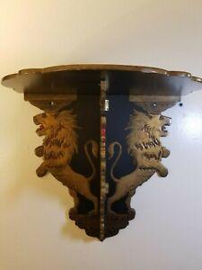 Chinoiserie Antique Folding Wall Shelf Paper Mache Black Lacquer Lion Victorian