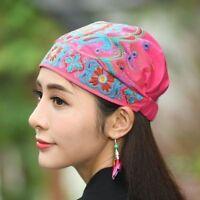 Women Floral Embroidered Ethnic Hat Muslim Turban Cap Head Wrap Scarf Beanie
