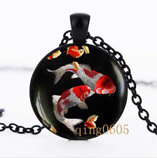 Japanese Koi Fish photo Glass Dome black Chain Pendant Necklace wholesale
