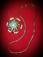 Vintage Coro Gold Tone Aqua Rhinestone Flower Bouquet Brooch Pin & Necklace