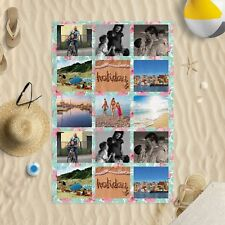 "58""x39"" Personalised Photo Floral Microfibre Beach Towel Sun Bathing Pool Swim"