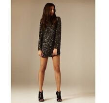 ALL SAINTS £295 Tavi Dress UK 8 / USA 4 embellished backless sequin black shift
