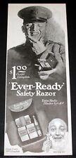 1918 OLD MAGAZINE PRINT AD, EVER-READY SAFETY RAZOR, KAKI OUTFIT, RADIO BLADES!