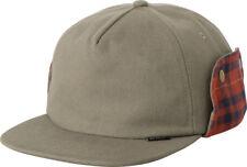 RVCA x TOY MACHINE Mens Hat *NEW 5 Panel VA Khaki Cap ruca FOLD FLANNEL EARFLAPS