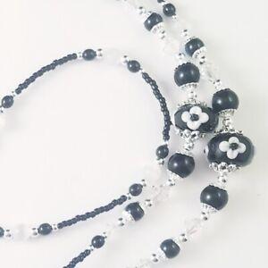 Beaded Lanyard~Black & White Flowers~Crystal~Badge ID Holder