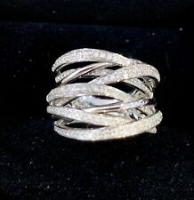 Stunning 14kt White Gold Diamond Crossover Ring Valued at $4,380 -  Size O