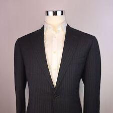 Canali Gray Striped 2 Button Double Vent Wool Suit Coat Mens 42L