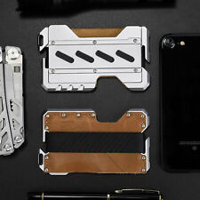 NEVERLAND Brown EDC Men's Multi Tool CNC Metal Leather Wallet- Up to 12 Card - B