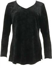 Isaac Mizrahi Crushed Velvet V-neck Bell Slv Top Black 1X NEW A298793