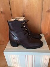 Vintage Leather Boots Lace Up Brown Brogue Style 60s 70s Shoes