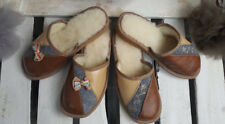 Women's Eco Leather / Wool Slippers Shoe Size 3 4 5 6 7 8 Thick sole (20)