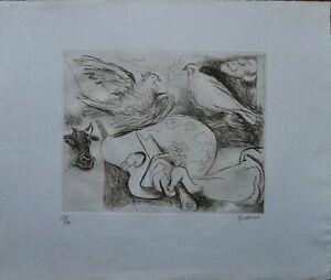 """Renato Guttuso acquaforte """"la mano di Picasso"""" 1973 firmata numerata pubblicata"""