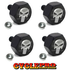 4 Black Billet License Plate Frame Hex Bolts For Harley - METAL PUNISHER SKULL S