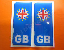 2x3D Sticker Resin Domed Euro GREAT BRITAIN Number Plate with Flag Car Badge
