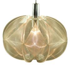 Faden Pendel Leuchte XL Kunststoff Transparent Hänge Lampe Vintage 70er Jahre