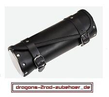 Motorrad Werkzeugrolle Gepäckrolle CHOPPER II Chromdeckel Leder tool box lether