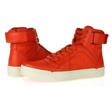 Mens GUCCI 228420 dusk red nylon leather high top/sneakers sz. 12 G UK