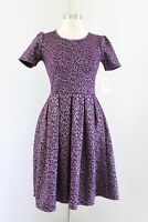 NWT Lularoe Amelia Dress Purple Silver Metallic Floral Print Size S Unicorn