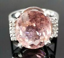 7.12TCW Baby Pink Oval Tourmaline Diamond 14k white gold ring