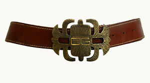"""Dolce & Gabbana Made in Italy Brown Genuine Leather Women's Belt Size 100cm 40"""""""
