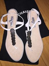CHANEL WHITE LEATHER COINS CC LOGO FLAT THONG SANDALS SIZE 39.5