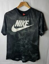 Mens NIKE Spell Out Short Sleeved Mesh Camouflaged T-Shirt Black S Small