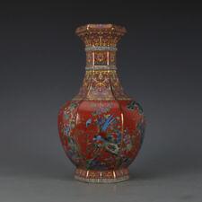 One Beautiful Chinese Qing Famille-Rose Porcelain Hexagonal Flowers Birds Vase