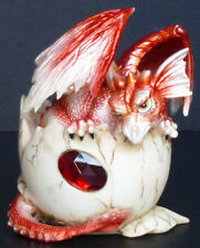 "Garnet January Birthstone Dragon in Egg Shell 4"" Figure Statue"