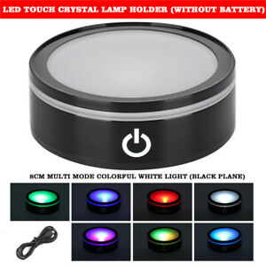 7 LED Colorful Crystal Light Base Electric Battery Display Stand Round Holder UK