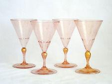 Venetian Murano Italy Art Glass Water Wine Pink Gold Aventurine Glasses
