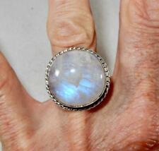Rainbow Moonstone Flashy Round Ring Triple Banded 925 Sterling Silver Size 9