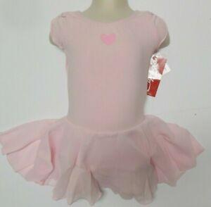 CAPEZIO Petal sleeve dress pink heart motif girls attached skirt leotard Ballet