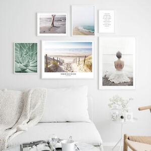 Coastal Beach Canvas Fashion Poster Seascape Nordic Wall Art Print Home Decor