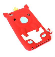 for iPod Touch 4th Generation RED CROWN PIG Soft Rubber Silicone Skin Case Cover