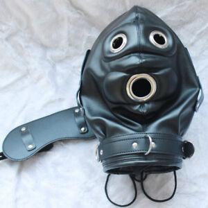 Soft Leather Gimp Bondage Hood Sensory Deprivation Mask Gag Blindfold Fetish CN