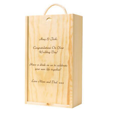 Personalised Three Bottle Wedding Wooden Wine Box, just add any Message
