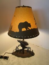 "Rustic Table Lamp Iron flying American Eagle fishing Pine Trees Bear shade 24"" H"