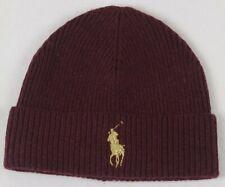 Polo Ralph Lauren Wine Wool Beanie Hat Skull Gold Big Pony NWT