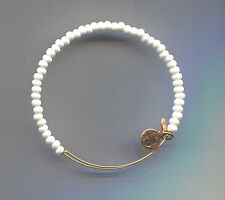 white bead bracelet Alex & Ani gold
