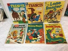 6 Golden Age Comic Books Dell Four Color Mickey Mouse Donald Duck Lone Ranger ++