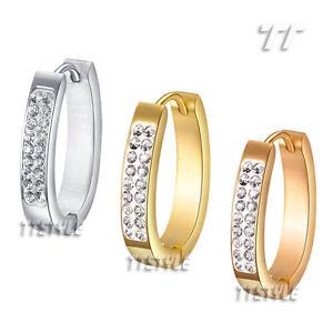 TT Multi-Sparkling CZ S.Steel U Sharp Hoop Earrings Medium & Large (EH03)A Pair