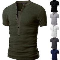 New Stylish Men's V Neck Short Sleeve T-Shirt Slim Fit Casual Basic Tee Shirts