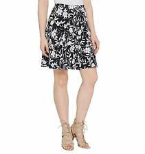 Susan Graver Sz L-3X Liquid Knit Black White Floral Print A-line Skirt Skort