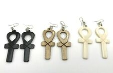 Vintage Ankh Earrings Carved Buffalo Bone Jewelry Set of 3 in Three Colors